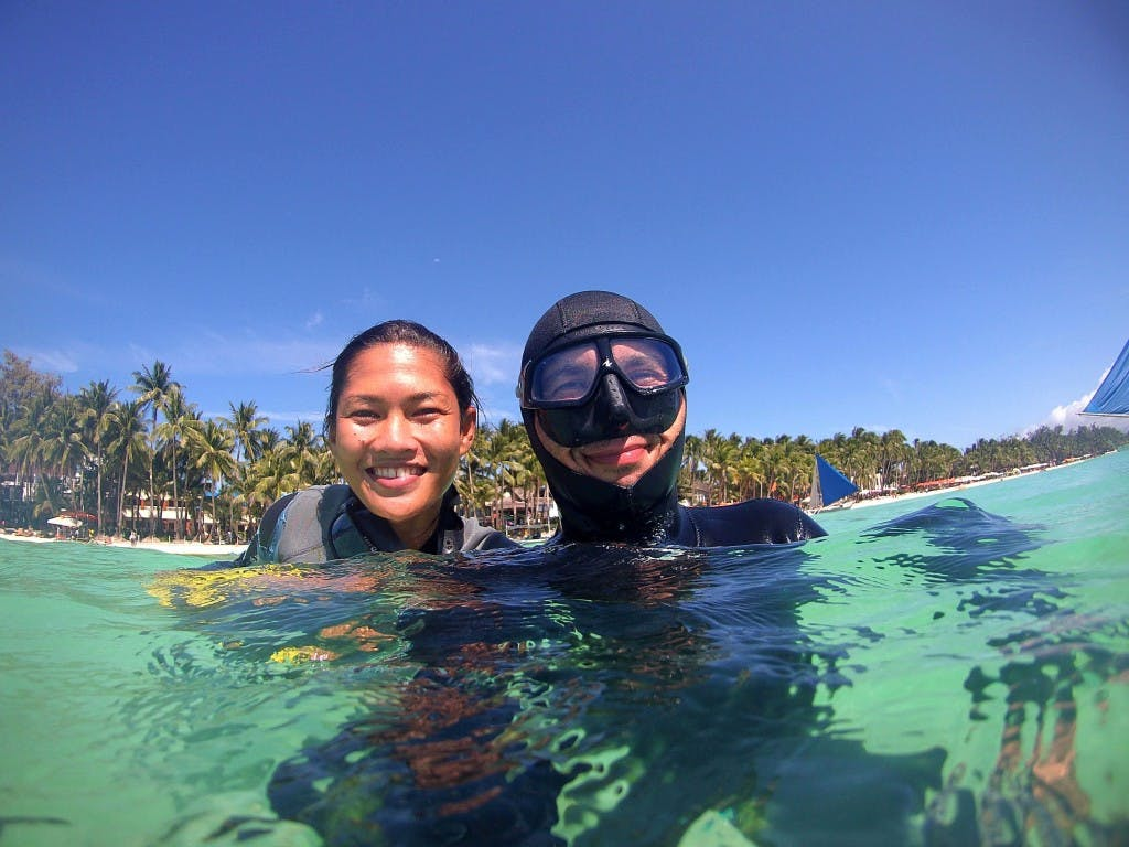 Cat with his business partner Bing LaRocque, the first Filipina freediving instructor