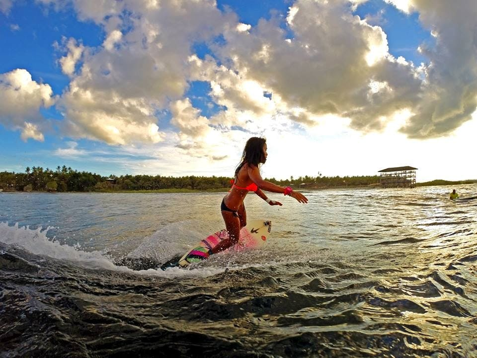 On a shortboard in Siargao. Photo by Kyron Rathbone