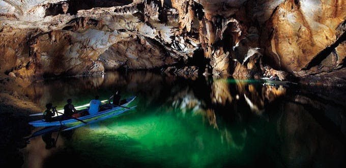 The 8.2 km Underground River which winds through a cave before flowing directly into the South China Sea.