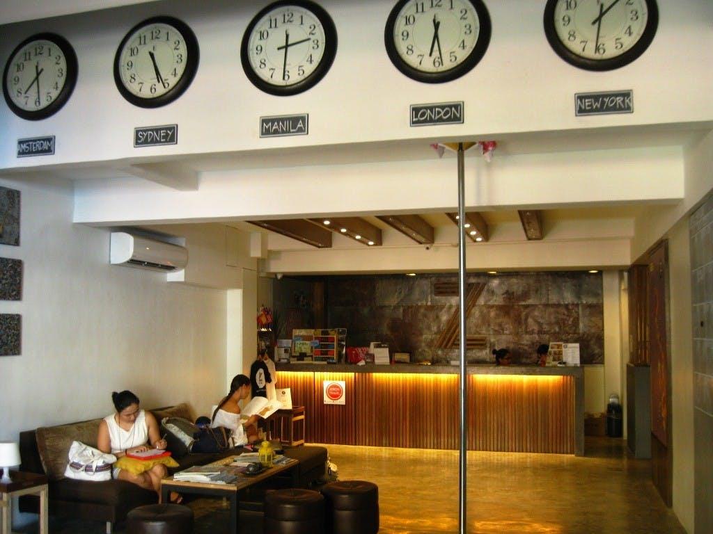 The hostel's bright lobby. Photo by Amanda Lago