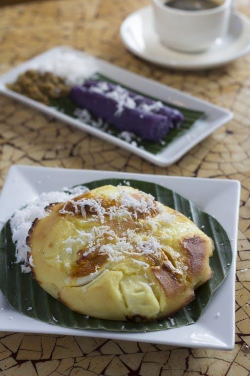 Bibingka (foreground) and puto bumbong, two favorite Filipino snacks