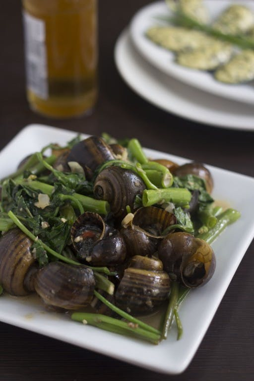 Ginataang kuhol or snails cooked in coconut milk