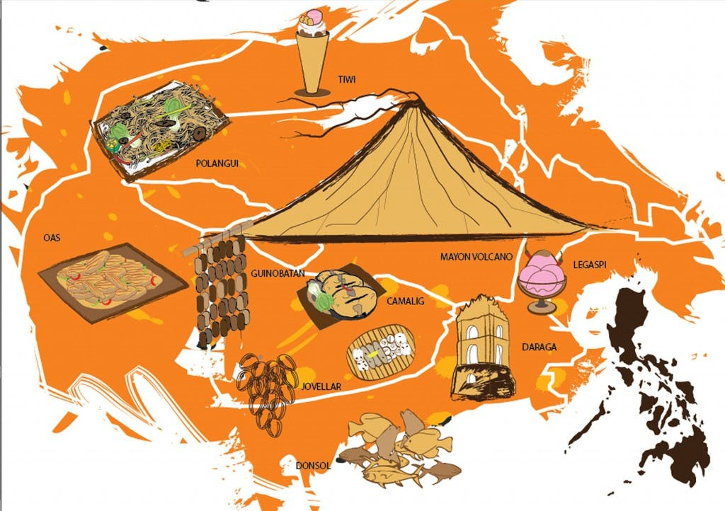A map of Albay highlighting the foodie stops. By Jardin Duran