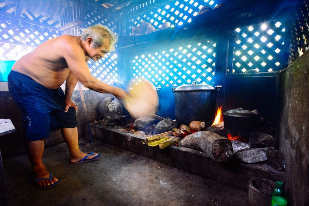 Traditional pinangat cooking at Zeny's, done over woodfire