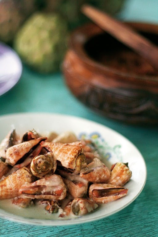 Iiswi shellfish cooked in coconut milk by Parc Cruz
