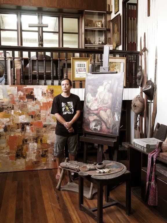 Botong Francisco's grandson, Carlos Francisco II, at the national artist's house