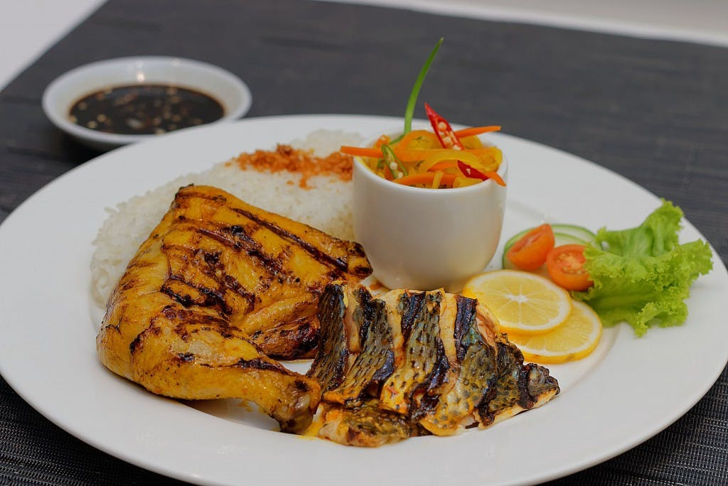 Chicken inasal and grilled tilapia fish