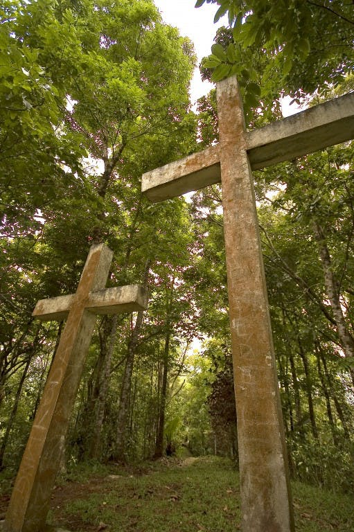 The Way of the Cross on Mt. Bandilaan, the island's highest point