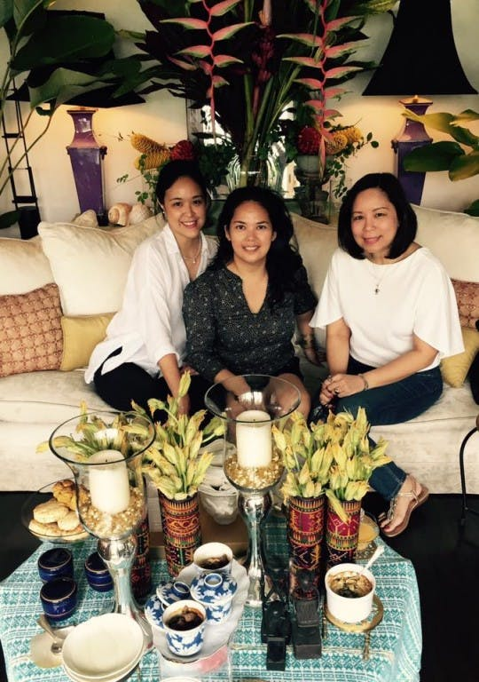 From left, Bettina Walsh, Dulce Gibb, and Terri Olan Reyes at Gibb's penthouse flat in Makati, the setting for Gibb's A Table Gourmet's private dining experience, an intimate alternative to restaurants