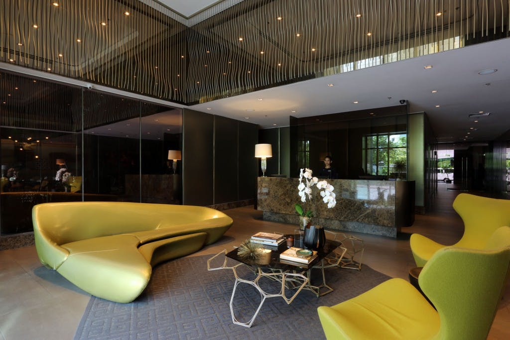 The lobby at KL Tower Residences in Makati